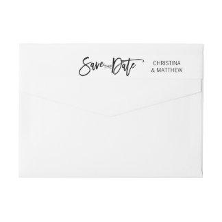 Modern Black White SAVE THE DATE Wedding Wrap Around Label