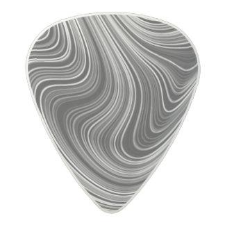 Modern Black White Silver Grey Curvy Lines Acetal Guitar Pick