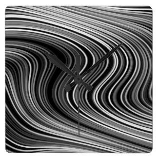 Modern Black White Silver Grey Curvy Lines Square Wall Clock