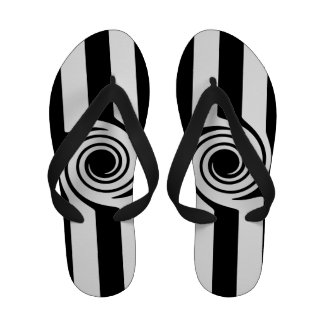 Modern Black white stripes and swirl abstract Flip Flops