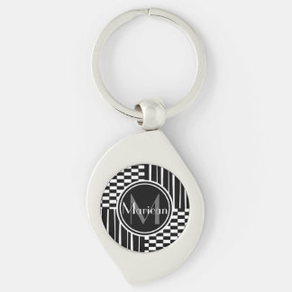 Modern black  white stripes  check monogram keychain