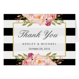 Modern Black White Stripes Classy Floral Thank You Note Card