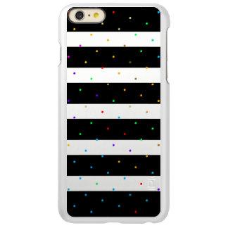 Modern Black & White Stripes Colorful Dots GR3