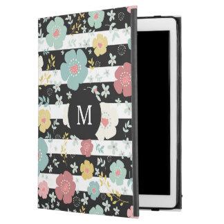 Modern Black & White Stripes & Colorful Flowers