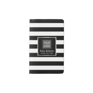 Modern Black & White Stripes Custom Logo Pocket Moleskine Notebook