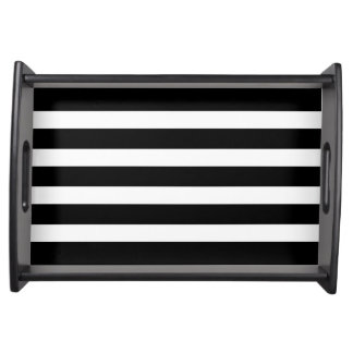 Modern Black & White Stripes Custom Serving Tray