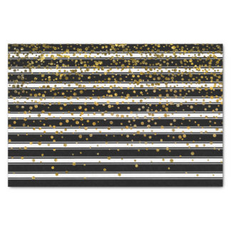 Modern Black White Stripes Gold Foil Confetti Dots Tissue Paper