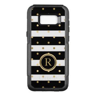 Modern Black & White Stripes & Gold Polka Dots OtterBox Commuter Samsung Galaxy S8+ Case