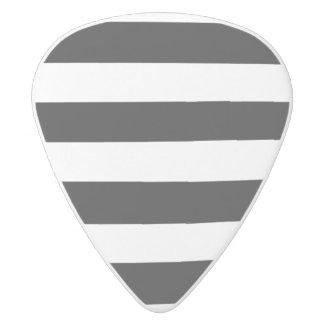 Modern Black White Stripes Pattern White Delrin Guitar Pick