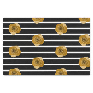 Modern Black White Stripes Pattern | Gold Roses Tissue Paper