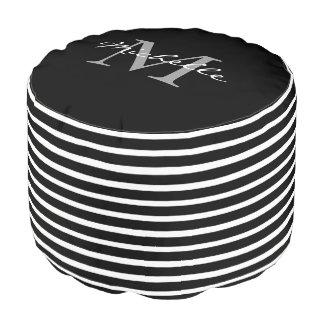 Modern black white stripes pattern monogram name pouf