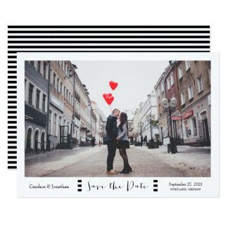 Modern Black & White Stripes Photo Save the Date Card