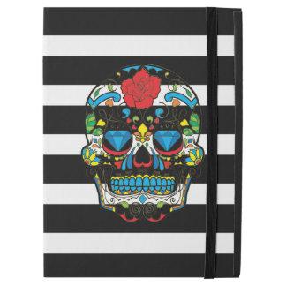 Modern Black & White Stripes & Sugar Skull