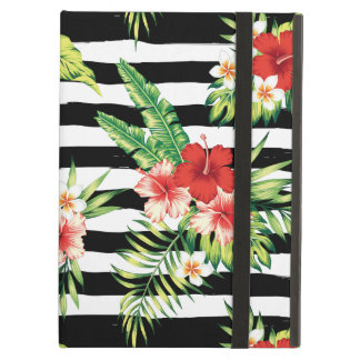 Modern Black & White Stripes With Tropical Flowers iPad Air Cover