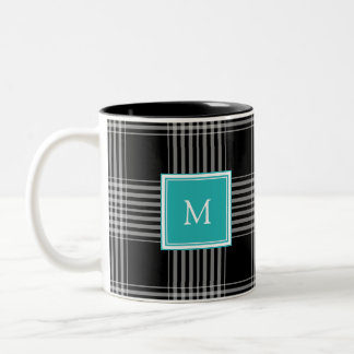 Modern black white tartan checkered monogram Two-Tone coffee mug