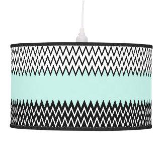 Modern black white teal stylish chevron pattern pendant lamp