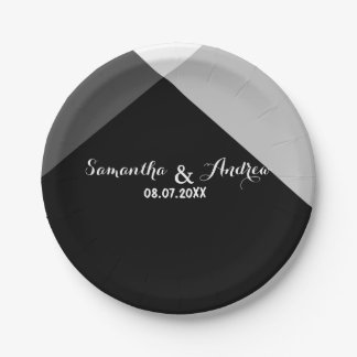 Modern black white triangles color block wedding paper plate