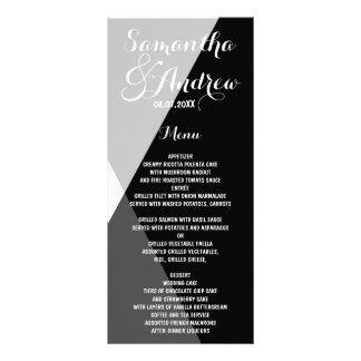 Modern black white triangles wedding menu rack cards
