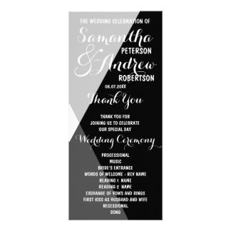 Modern black white triangles Wedding Program Rack Cards