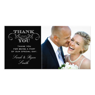 Modern Black & White Wedding Photo Thank You Cards