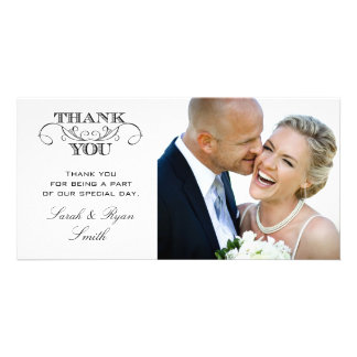 Modern Black & White Wedding Photo Thank You Cards Picture Card
