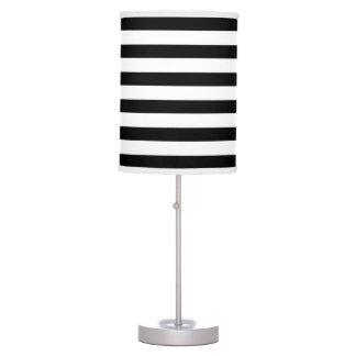Modern Black White Wide Stripes Table Lamp