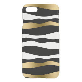 Modern Black & White Zebra Stripes Gold Accents iPhone 7 Case