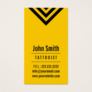 Modern Black & Yellow Tattoo Art Business Card