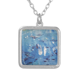 Modern Blue Abstract Design Silver Plated Necklace