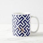 Modern blue abstract geometric patterns monogram basic white mug