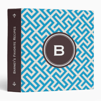 Modern blue abstract geometric patterns monogram binder