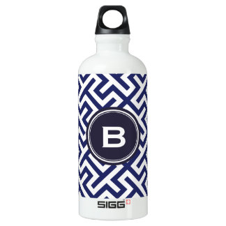 Modern blue abstract geometric patterns monogram water bottle
