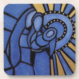 Modern Blue Abstract Holy Family Coaster