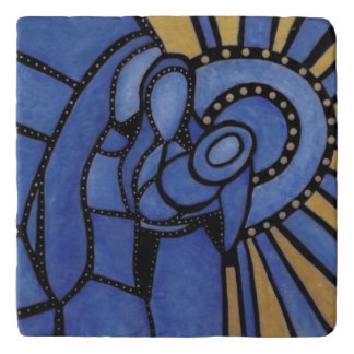 Modern Blue Abstract Holy Family Trivet