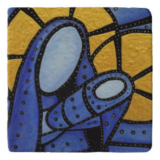 Modern Blue Abstract Mother And Child Trivet