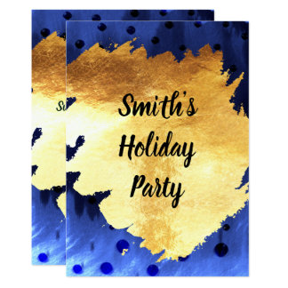 Modern Blue and Faux Gold Holiday Party Card