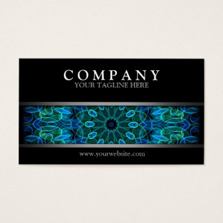 Modern Blue and Green Gems Mandala Business Card