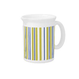 Modern Blue And Green Stripes Pitcher