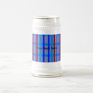 Modern blue and purple grid pattern with stripes beer steins