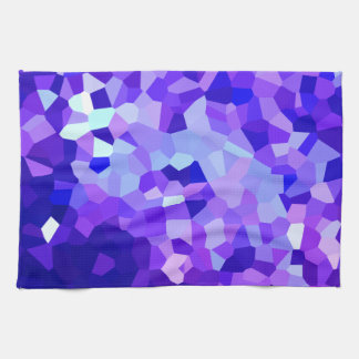 Modern Blue and Purple Stained Glass Ocean Mosaic Kitchen Towel