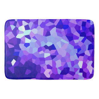 Modern Blue and Purple Stained Glass Pixel Mosaic Bath Mat