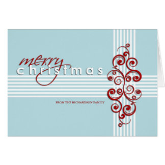 Modern Blue and Red Merry Christmas Card