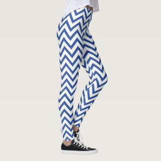 Modern Blue and White Chevron ZigZag Stripes Leggings