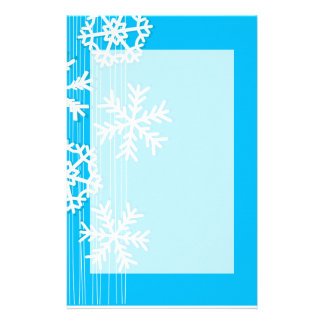 Modern blue and white Christmas white snowflakes Customized Stationery