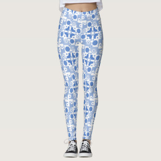 Modern Blue and White Circuitry Leggings