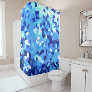 Modern Blue and White Crystallized Ocean Mosaic