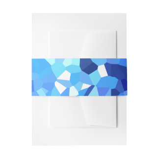 Modern Blue and White Crystallized Ocean Mosaic Invitation Belly Band