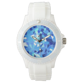 Modern Blue and White Crystallized Ocean Mosaic Watch