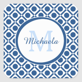 Modern Blue and White Geometric Monogram With Name Square Sticker