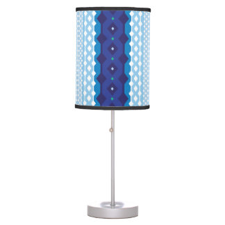 Modern Blue and White Patterned Lamp